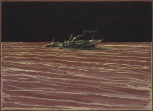 Wreck, Oil on board, 62x85.5cm. Artist: Richard Kenton Webb.